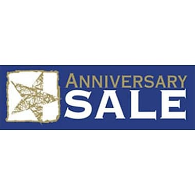 19in. x 57in. Jumbo Paper Banner in.ANNIVERSARY SALEin., Gold/White on Blue