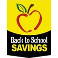 20in. x 14in. Pennants in.BACK TO SCHOOL SAVINGSin., Black/White on Yellow