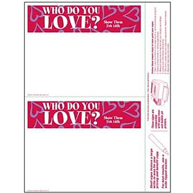 5 1/2in. x 7in. Shelf Sign in.WHO DO YOU LOVE?in., Pink on White