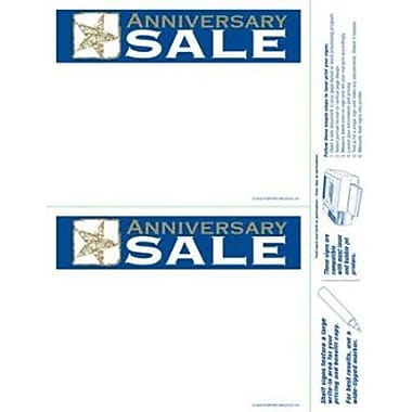 5 1/2in. x 7in. Shelf Sign in.ANNIVERSARY SALEin., White/Gold on Blue