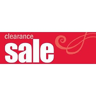 9 1/2in. x 28 1/2in. Streamer in.CLEARANCE SALEin., White on Red