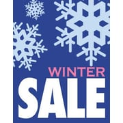28 x 22 Jump Star Standard Poster WINTER SALE, White/Pink on Blue