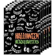28 x 22 Standard Poster HALLOWEEN HEADQUARTERS, Orange/Green on Black, 6/Pack