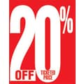 28in. x 22in. Standard Poster in.20% OFF TICKETED PRICEin., White on Red