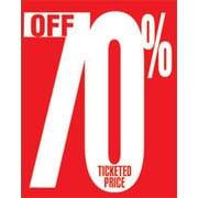 28 x 22 Standard Poster 70% OFF TICKETED PRICE, White on Red