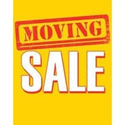 28 x 22 Standard Poster MOVING SALE, White/Red on Yellow