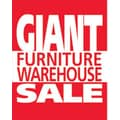 28in. x 22in. Standard Poster in.GIANT FURNITURE WAREHOUSE SALEin., White on Red