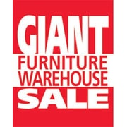 28 x 22 Standard Poster GIANT FURNITURE WAREHOUSE SALE, White on Red