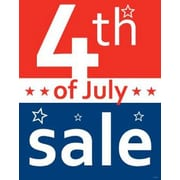 28 x 22 Standard Poster 4TH OF JULY SALE, White on Blue/Red