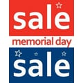 28in. x 22in. Standard Poster in.MEMORIAL DAY SALEin., White on Red/Blue, 6/Pack
