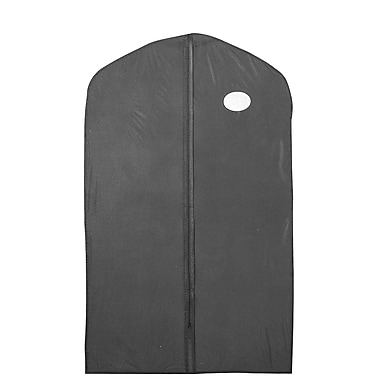 24 in.  x 54 in.  Polyethylene Zippered Garment Cover With Oval Window and Center Zipper, Black