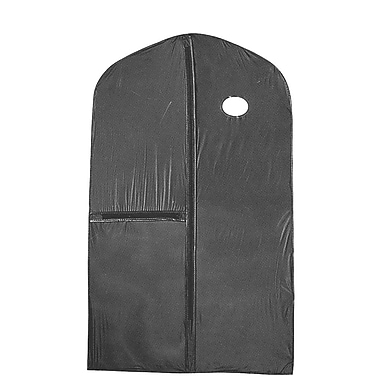 24 in.  x 40 in.  Vinyl Zippered Garment Cover W / Zippered Accessory Pocket and Center Zipper, Black