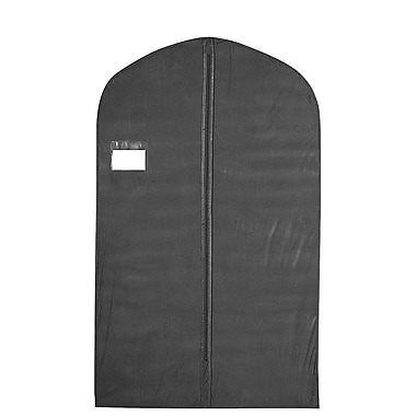 24 in.  x 40 in.  Vinyl Zippered Garment Cover With Window / Card Pocket and Center Zipper, Black