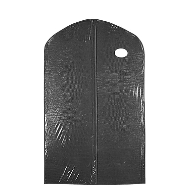 Econoco 45D/B 40in. x 24in. Black Zippered Garment Cover with Oval Window with Card Pocket, Alligator, 5 ga Vinyl