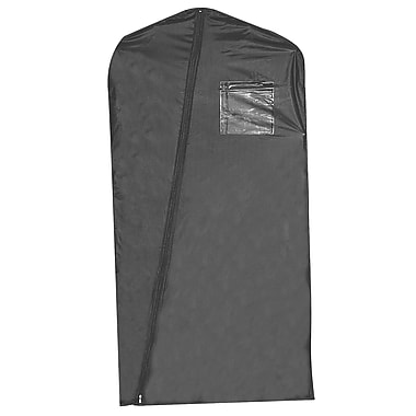 24 in.  x 46 in.  Vinyl Zippered Garment Cover With Window / Card Pocket and Diagonal Zipper, Black