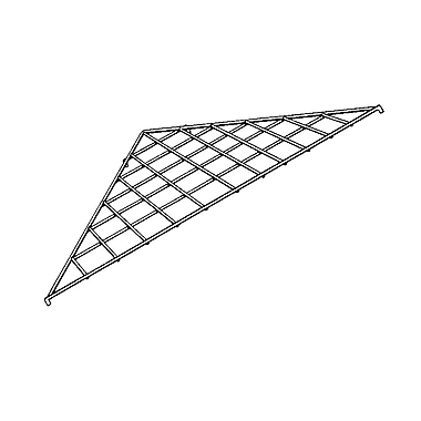Econoco BLKS/90 24in. x 34 1/2in. Gridwall Triangular Shelf, Black, Metal