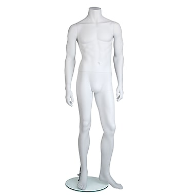 Edgar Headless Male Mannequin, Arm By Side and Left Leg Slightly Bent, True White