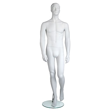 Econoco EAMH-6 Edgar Molded Head Male Mannequin, Hands by Side/Left Leg Back, True White