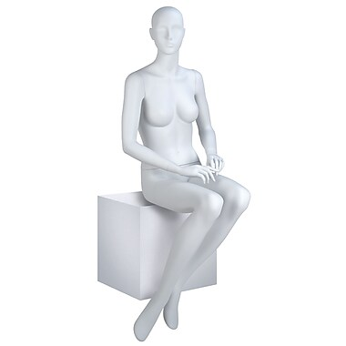 Econoco EVE-6H EVE Seated Abstract Head Female Mannequin, Hands on Lap, True White