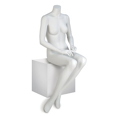 Econoco EVE-6HL EVE Seated Headless Female Mannequin, Hands on Lap, True White