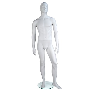 Econoco GEN-2H Gene Abstract Head Male Mannequin, Arms by Side/Left Leg Slightly Forward, True White