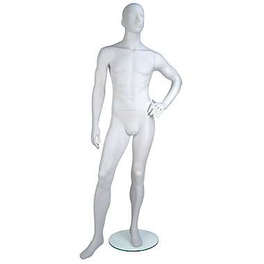 Econoco GEN-3H-OV Gene Oval Head Male Mannequin, Left Hand on Hip/Left Leg Slightly Forward, True White
