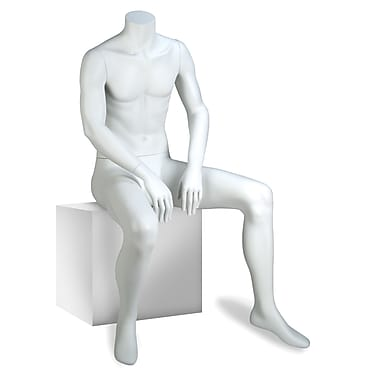 Econoco GEN-5-HL Gene Headless Male Mannequin, Seated, True White