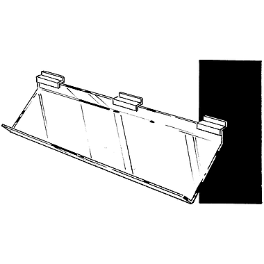 12 in.  x 12 in.  Acrylic Angled Support Shelf With Front Lip, Clear