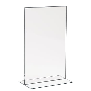 Econoco HP/CT711V Acrylic Double-Sided Bottom Load Countertop Sign Holder, Clear, 11in. x 7in.