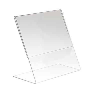 11 in. H x 8 1 / 2 in. W Acrylic Single-Sided Vertical Slantback Countertop Sign Holder, Clear