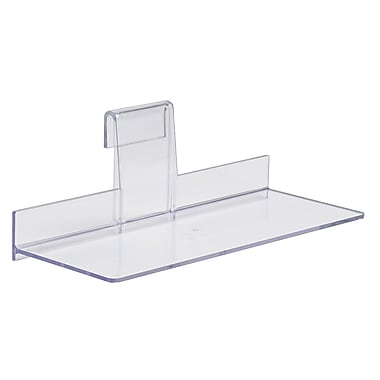 4 in.  x 10 in.  Injection Molded Styrene Shoe Shelf, Clear