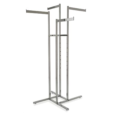 Square Tubing 4-Way Rack With Straight Arms, Chrome