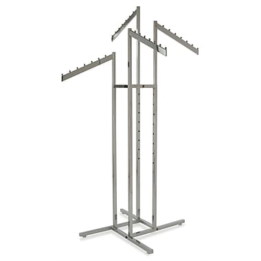 Square Tubing 4-Way Rack With Slant Arms and 1 / 2 in.  x 1 1 / 2 in.  Blade Arms, Chrome