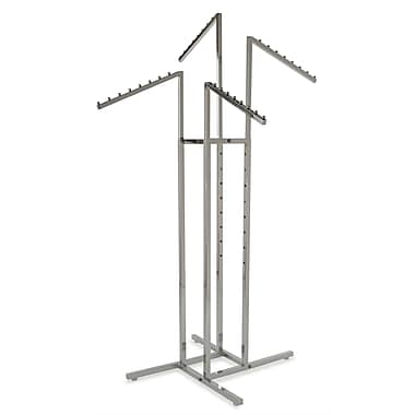 Square Tubing 4-Way Rack With Slant Arms, Chrome