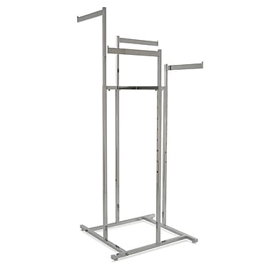Square Tubing 4-Way Space Saver Rack With Straight Blade Arms, Chrome