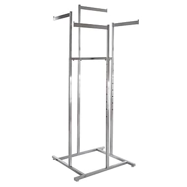 Square Tubing 4-Way Rack Space Saver With Straight Blade Arms, Satin Chrome