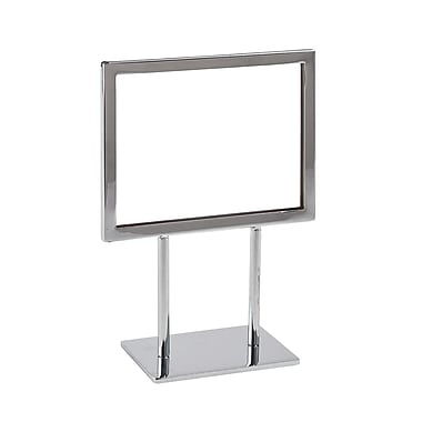 5 1 / 2 in.  x 7 in.  Mitered Corner Flat Base Sign Holder, Chrome