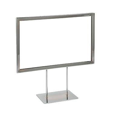 7 in.  x 11 in.  Mitered Corner Flat Base Sign Holder, Chrome