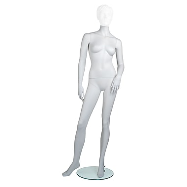 Econoco MGF1-HL Maggie Headless Female Mannequin, Left Arm Slightly Bent/Right Leg to Side, True White