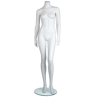 Econoco MGF2-HL Maggie Headless Female Mannequin, Hands by Side/Left Leg Slightly Bent, True White