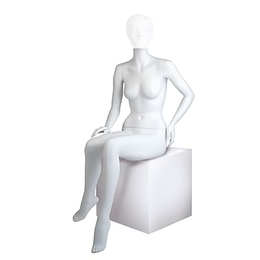 Econoco MGF5-HL Maggie Seated Headless Female Mannequin, Right Hand on Knee/Left Hand on Hip, True White