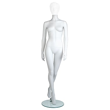 Econoco MGF6-HL Maggie Headless Female Mannequin, Hands by Side/Left Leg Back, True White