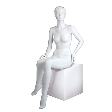 Econoco MGFH-5 Maggie Seated Molded Hair Female Mannequin, Right Hand on Knee/Left Hand on Hip, True White