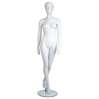 Econoco MGFH-6 Maggie Molded Hair Female Mannequin, Hands by Side/Left Leg Back, True White