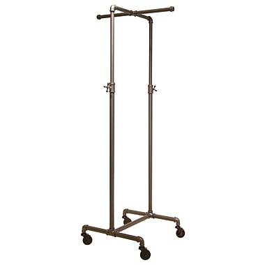 Econoco PS2CBADJ Pipeline 44in. - 72in. x 21in. x 21in. Adjustable 2-Way Cross Bar Rack, 2in. Casters, Anthracite Grey