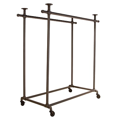 48 in.  x 24 in.  x 52 in.  Pipeline Double Ballet Bar With Top, Anthracite Gray