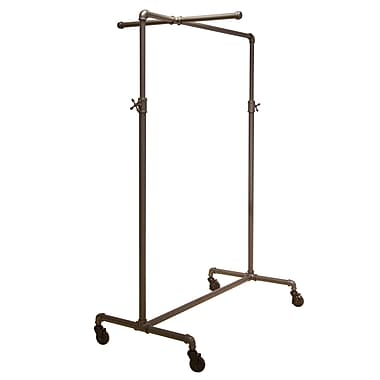 Econoco PSBBCB1ADJ 44in. - 72in. x 41in. x 22in. Pipeline Adjustable Ballet Rack, One Crossbar, Anthracite Gray