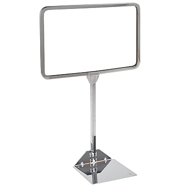 7 in.  x 11 in.  Round Corner Sign Holder With Shovel Base, Chrome
