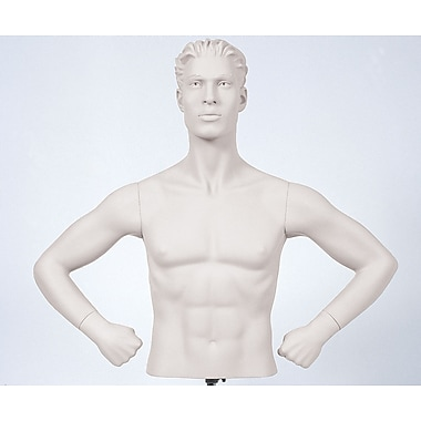 Econoco SYM-B109 Male Arms Mannequin, Hands on Hips, White