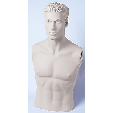 Econoco SYMB-H109 Male Bust Mannequin, White, Head